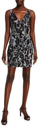 Naeem Khan Leopard Print Shimmered Shift Dress