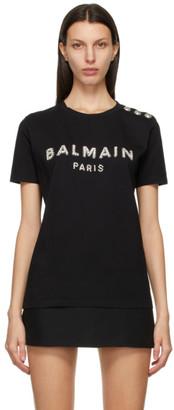 Balmain Black Crystal Logo T-Shirt