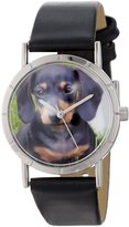 Whimsical Watches Kids' R0130034 Classic Dachshund Black Leather And Silvertone Photo Watch