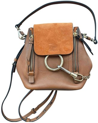 Chloé Faye Camel Suede Backpacks