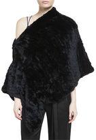 Halston Convertible Rabbit Fur Poncho