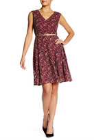London Times V-Neck Lace Skater Dress (Petite)