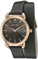 SO&CO New York Women's 5086.3 SoHo Quartz Grey Genuine Leather Wrap Around Strap Watch