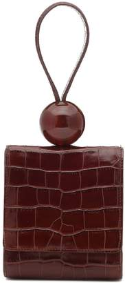 BY FAR Ball croc-effect leather clutch