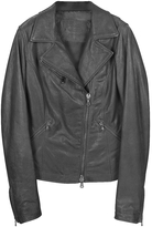 Forzieri Black Leather Motorcycle Jacket