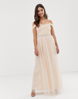 Little Mistress bardot strap split maxi dress