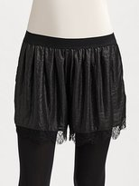 Lace-Trimmed Sateen Shorts