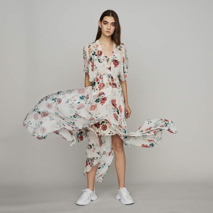 Maje Scarf dress in printed chiffon
