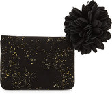 Neiman Marcus Gold-Flecked Faux-Suede Wallet, Black