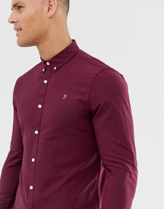 Farah Brewer slim fit oxford shirt in burgundy-Red