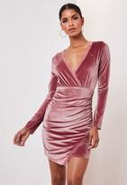 Missguided Blush Velvet Lace Insert Wrap Mini Dress