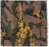Valentino camouflage and stars scarf