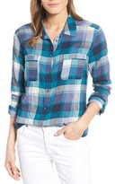 Petite Women's Caslon Long Sleeve Crinkle Cotton Shirt