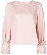 See by Chloe embellished-sleeve top - women - Cotton - 36