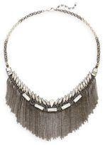 Deepa Gurnani Austrian Crystal Fringe Bib Necklace/Gunmetal-Tone