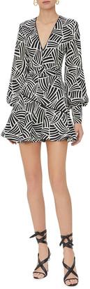Alexis Amrei Wave-Print Mini Dress