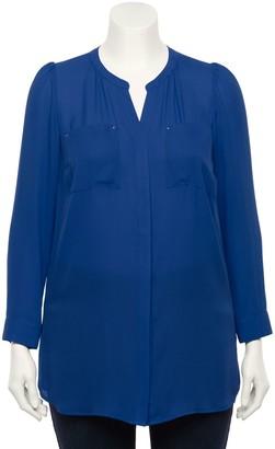 Apt. 9 Plus Size Shirred Tunic Shirt
