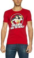 Logoshirt Slim Fit DC Wonder Woman Girls Will Save The World Logo Men's T-Shirt