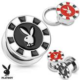 Playboy Bunny Poker Chip 316L Surgical Steel Screw Fit Plug (Sold as a Pair)