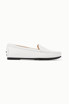 Tod's Gommino Croc-effect Leather Loafers - White