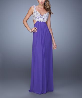 La Femme Women's Special Occasion Dresses Royal - Royal Purple Floral Lace Side-Cutout Sleeveless Gown - Women