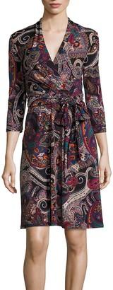 Nicole Miller Studio Women's 3/4 Sleeve Printed Jersey Faux Wrap Full Skirt Dress