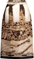 Dolce & Gabbana Printed silk midi skirt