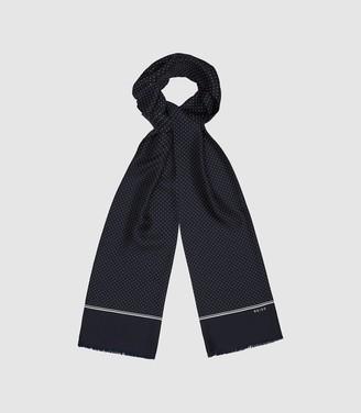 Reiss Neptune - Silk Polka Dot Scarf in Navy