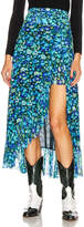 Ganni Printed Mesh Skirt in Azure Blue | FWRD