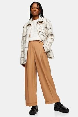 Topshop Womens Camel Elastic Back Wide Leg Trousers - Camel
