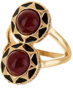 House Of Harlow Double Dome Merlot Enamel Ring - Size 6