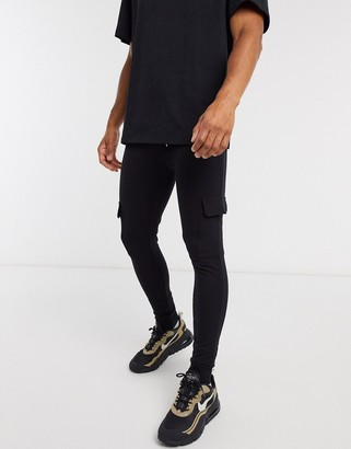 ASOS DESIGN super skinny cargo joggers in black