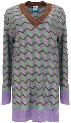 M Missoni Metallic Geometric Pattern Knit Jumper