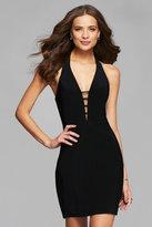 Faviana 7854 Short v-neck cocktail dress with Open strappy back