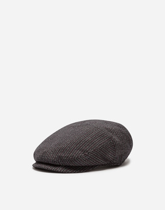 Dolce & Gabbana Flat Cap In Cotton And Stretch Wool