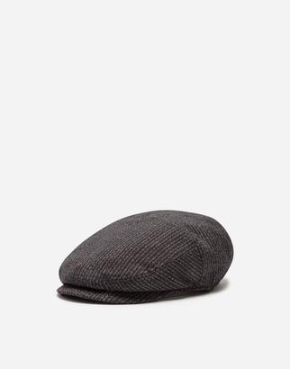 Dolce & Gabbana Flat Cap In Cotton And Stretch Wool