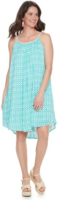 Nina Leonard Women's Print Braided-Trim Trapeze Dress