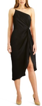 Aidan Mattox One-Shoulder Draped Midi Sheath Dress