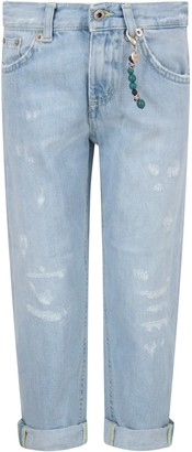 Dondup Light Blue brighton Jeans For Boy With Locket