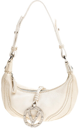 Valentino Ivory Leather V Ring Closure Mini Hobo