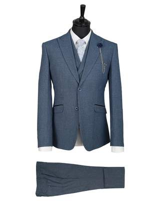 House Of Cavani Three Piece Checked Suit Colour: BLUE, Size: 36R