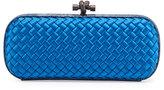 Bottega Veneta Satin Elongated Knot Clutch Bag, Bluette