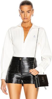 Brandon Maxwell Pique Bodysuit W/ Blouse Sleeve in White | FWRD