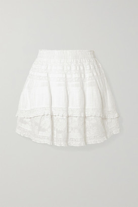 LoveShackFancy Adelia Crochet-trimmed Embroidered Cotton-voile Mini Skirt - White