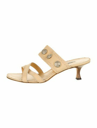 Manolo Blahnik Leather Crossover Sandals silver