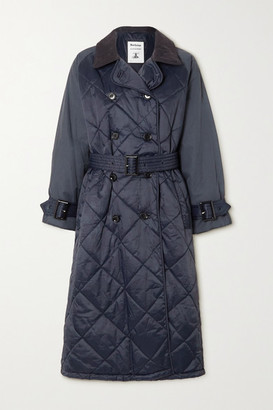 Barbour + Alexachung Delia Corduroy-trimmed Quilted Shell Trench Coat - Navy