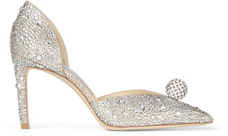 Jimmy Choo SABINE 85 Nude Suede D'Orsay Pumps with Hotfix Crystals and Sphere Detail