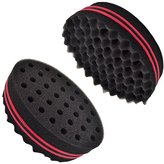2-in-1 Hair Sponge Brush For Afro Twists Curls Dreads Braids Coils Waves For Men | Professional Double Sided Barber Sponge With Holes And Spikes | Style Dreadlocks While Keeping Your Natural Texture
