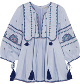 Talitha - Indian Sindhi Tasseled Embroidered Cotton Blouse - Light blue