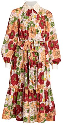 Marc Jacobs Lurex Dot Lace Applique Cotton Tiered Dress